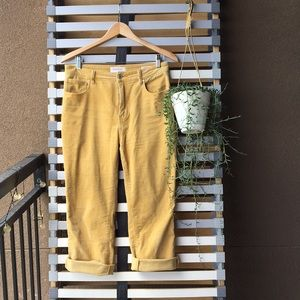 Yellow Corduroy Mom Jeans High Waisted Cropped